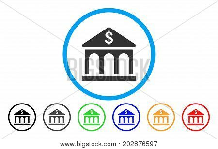 Classic Bank Building rounded icon. Vector illustration style is a gray flat iconic classic bank building symbol inside a circle. Additional color versions are black, gray, green, blue, red, orange.