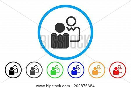 Clients rounded icon. Vector illustration style is a gray flat iconic clients symbol inside a circle. Additional color versions are black, grey, green, blue, red, orange.