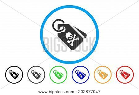 Death Tags rounded icon. Vector illustration style is a gray flat iconic death tags symbol inside a circle. Additional color variants are black, gray, green, blue, red, orange.