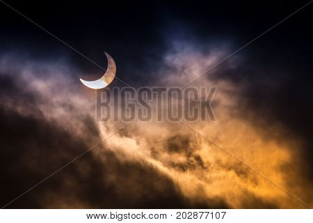 The Partial Solar Eclipse with black background.
