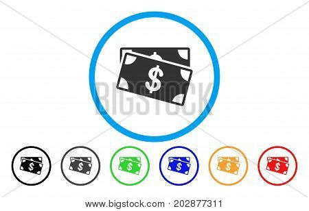 Dollar Banknotes rounded icon. Vector illustration style is a grey flat iconic dollar banknotes symbol inside a circle. Additional color variants are black, gray, green, blue, red, orange.