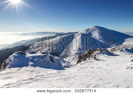 Snowy Landscape View From National Park Mala Fatra In Slovakia,