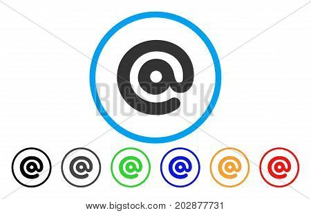 Email Symbol rounded icon. Vector illustration style is a grey flat iconic email symbol symbol inside a circle. Additional color versions are black, gray, green, blue, red, orange.