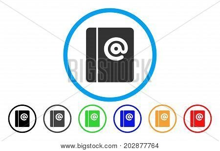 Emails rounded icon. Vector illustration style is a grey flat iconic emails symbol inside a circle. Additional color variants are black, gray, green, blue, red, orange.