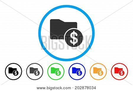 Financial Folder rounded icon. Vector illustration style is a gray flat iconic financial folder symbol inside a circle. Additional color variants are black, gray, green, blue, red, orange.