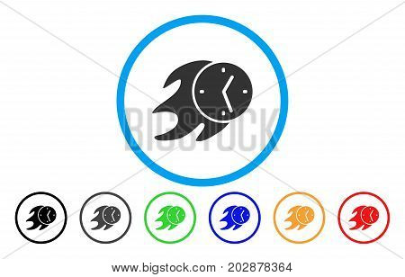 Fire Deadline Clock rounded icon. Vector illustration style is a gray flat iconic fire deadline clock symbol inside a circle. Additional color variants are black, grey, green, blue, red, orange.