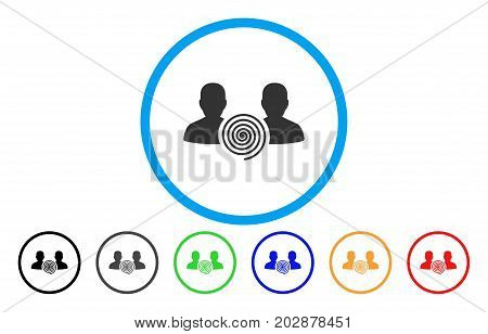Hypnosis Sect rounded icon. Vector illustration style is a gray flat iconic hypnosis sect symbol inside a circle. Additional color variants are black, gray, green, blue, red, orange.