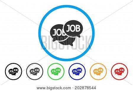 Labor Market rounded icon. Vector illustration style is a grey flat iconic labor market symbol inside a circle. Additional color versions are black, gray, green, blue, red, orange.