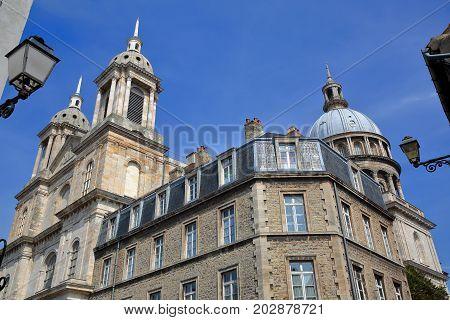 A wide-angle view of the Basilica of Notre Dame in Boulogne sur Mer, Cote d'Opale, Pas de Calais, Hauts de France