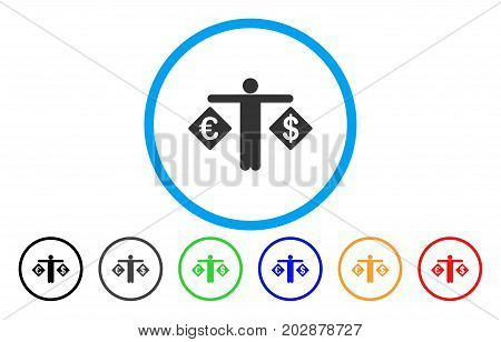 Person Compare Dollar And Euro rounded icon. Vector illustration style is a gray flat iconic person compare dollar and euro symbol inside a circle. Additional color versions are black, gray, green,