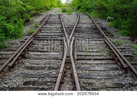crossing of two old railroad in wood
