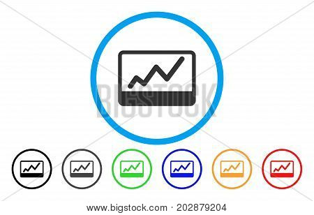Stock Market Chart rounded icon. Vector illustration style is a grey flat iconic stock market chart symbol inside a circle. Additional color variants are black, gray, green, blue, red, orange.