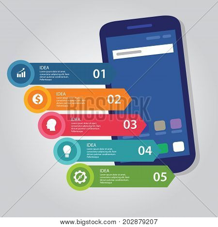 5 steps arrow info-graphic business vector process full color of smart-phone gadget communication technology mobile device