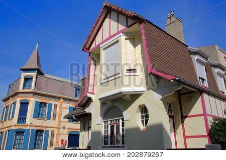 WIMEREUX, FRANCE - AUGUST 28, 2017: traditional and colorful houses, Cote d'Opale, Pas de Calais, Hauts de France