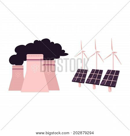 vector flat cartoon solar panels battery, sun power cells plant, windmills turbine, nuclear reactor set. Isolated illustration on a white background. Dirty and green eletricity source concept