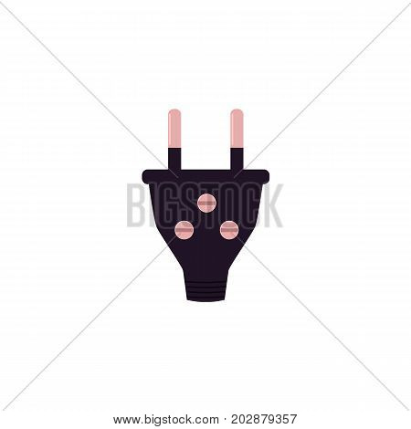 vector flat cartoon style power plug. Isolated illustration on a white background. Symbol of electric device plugging in, or electricity consuming. Technology, industry design object