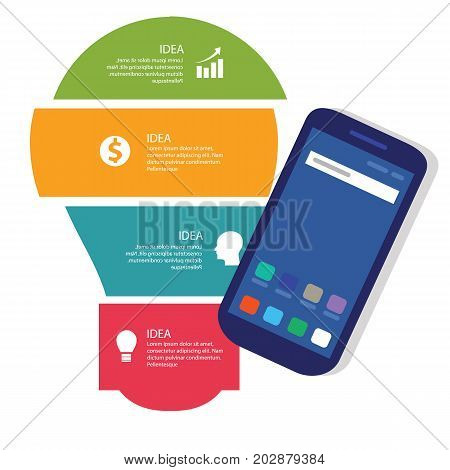 bulb idea info-graphic business vector process full color of smart-phone gadget communication technology mobile device