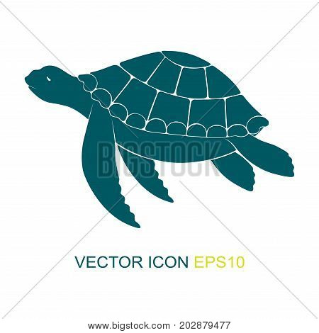Silhouette of a turtle. Vector. Logo. View of a turtle on the side. Vector illustration.