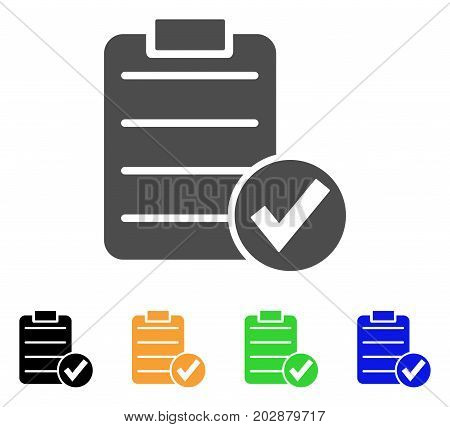 Approve Test vector pictograph. Style is a flat graphic symbol in grey, black, yellow, blue, green color versions. Designed for web and mobile apps.