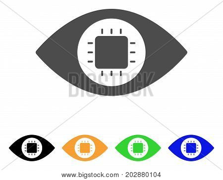 Bionic Eye Circuit vector pictograph. Style is a flat graphic symbol in grey, black, yellow, blue, green color versions. Designed for web and mobile apps.
