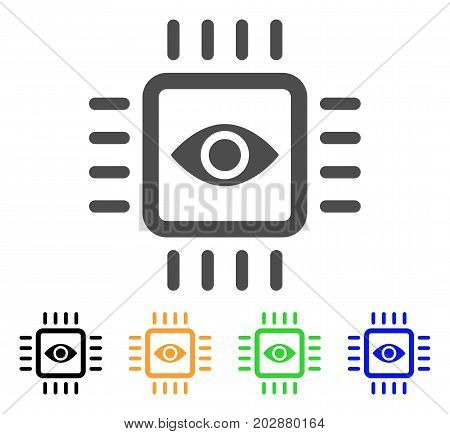 Bionic Vision Chip vector pictogram. Style is a flat graphic symbol in grey, black, yellow, blue, green color variants. Designed for web and mobile apps.