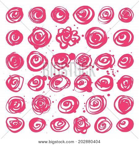 Set of hand drawn pink roses. Vector stylized roses.