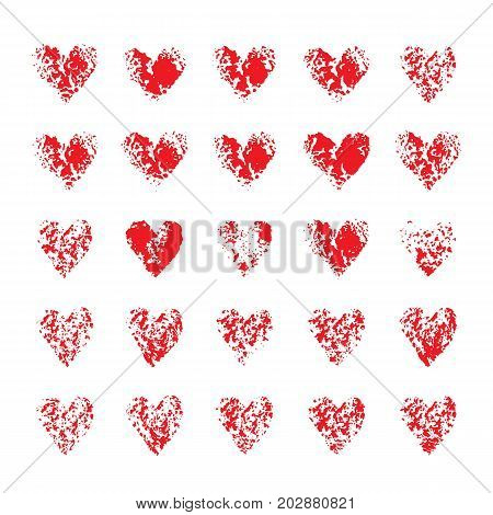 Set of red imprint hearts on white background. Hand drawn design elements. Vector hearts.