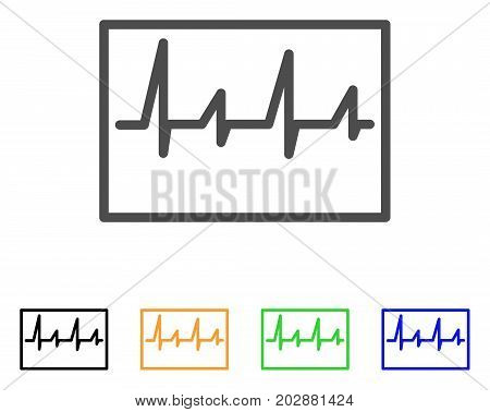 Cardiogram vector icon. Style is a flat graphic symbol in gray, black, yellow, blue, green color variants. Designed for web and mobile apps.