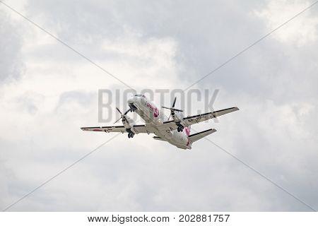 PRAGUE CZECH REP - SEPTEMBER 03 2017: SPRINT AIR. The plane takes off the runway. SP-KPC SprintAir Saab 340 take off from Prague. Czech Republuc