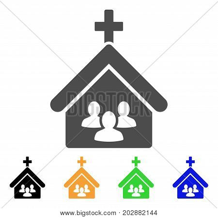 Church People vector icon. Style is a flat graphic symbol in gray, black, yellow, blue, green color variants. Designed for web and mobile apps.