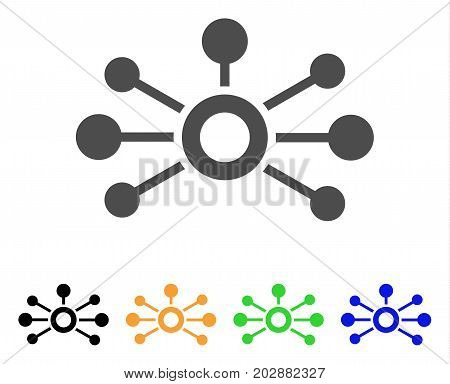Connections vector pictogram. Style is a flat graphic symbol in gray, black, yellow, blue, green color variants. Designed for web and mobile apps.
