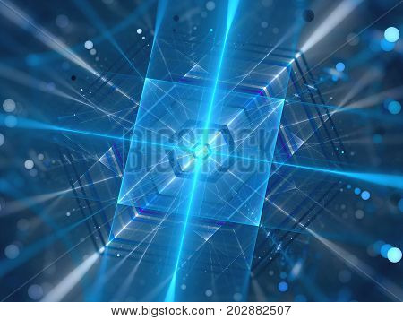 Blue glowing futuristic quantum processor computer generated abstract background 3D rendering