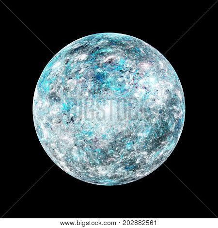 Icy cold exoplanet high resolution texture computer generated abstract background isolated 3D rendering