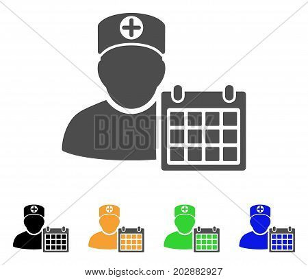 Doctor Schedule Calendar vector icon. Style is a flat graphic symbol in grey, black, yellow, blue, green color versions. Designed for web and mobile apps.