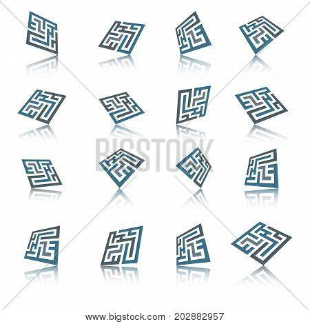 Set of abstract maze element. Maze emblem.