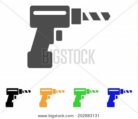 Drill vector pictograph. Style is a flat graphic symbol in grey, black, yellow, blue, green color versions. Designed for web and mobile apps.