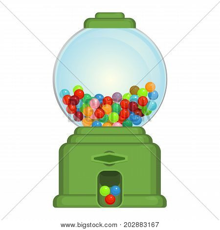 Gumball machine toy or commercial device, which dispenses round gumballs vector illustration isolated on white background.