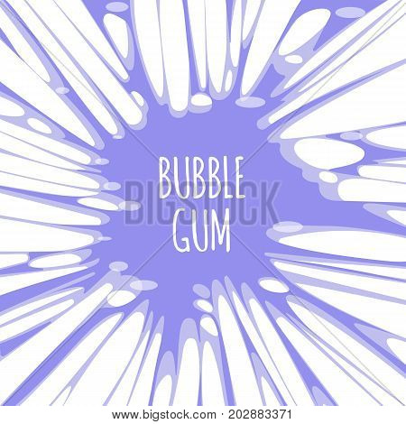 Bubble gum purple background with burst of chewing candy with text. Backdrop with splatter of bubblegum sugar treat