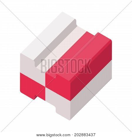 Two color bubble gum isometric 3D vector illustration isolated on white background. Chewing sweet food for children, sugary confectionery icon