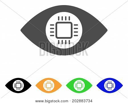 Eye Lens Processor vector icon. Style is a flat graphic symbol in gray, black, yellow, blue, green color variants. Designed for web and mobile apps.