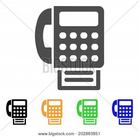 Fax Machine vector pictogram. Style is a flat graphic symbol in grey, black, yellow, blue, green color versions. Designed for web and mobile apps.