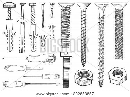 Set of tools and fasteners. Screwdriver wrench spanner hex key screw rawlplug nail expansion anchor nut. Hand drawn illustration in vector sketch style.