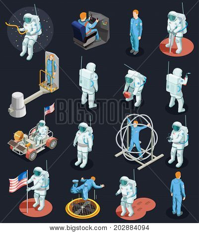 Astronaut isometric people set of isolated human characters with spacesuits various space systems and exercise devices vector illustration