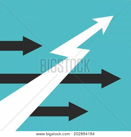 White lightning shaped unique arrow moving upwards and black horizontal ones. Development, growth and competition concept. Flat design. EPS 8 vector illustration, no transparency, no gradients