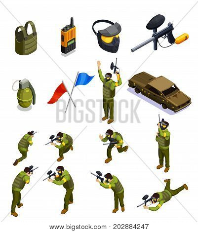 Paintball isometric icons collection with isolated fighter characters in uniform armour helmet shield and other equipment vector illustration