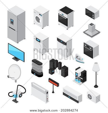 Household appliances isometric set with iron tv microwave refrigerator stove mixer blender coffee machine air conditioning heating fume hood isolated  icons vector illustration poster