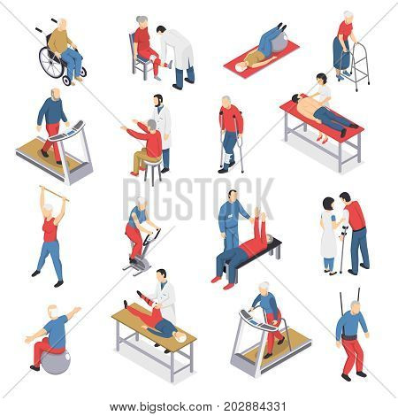 Rehabilitation physiotherapy isometric icons collection with people exercising on ball and moving walkway travelator isolated vector illustration
