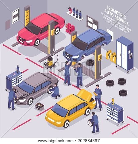 Workers fixing cars and changing tyres in auto service center 3d isometric vector illustration