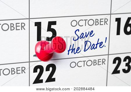 Wall Calendar With A Red Pin - October 15