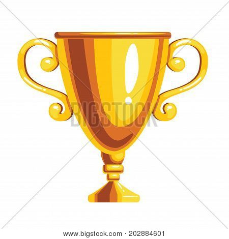 Gold award cup isolated on white background. Vector illustration